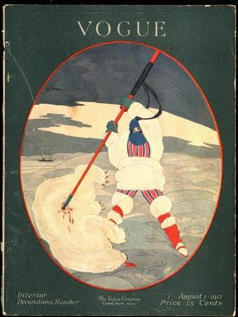 Vogue Cover - August 1917-Georges Lepape-Stretched Canvas Print