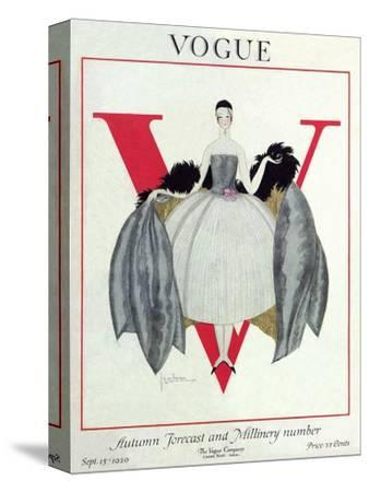 Vogue Cover - September 1920 - Wrapped in Feathers-Georges Lepape-Stretched Canvas Print