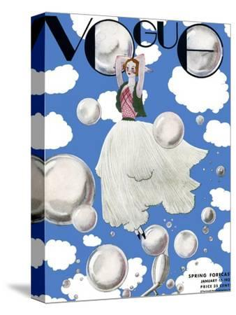 Vogue Cover - January 1932 - Clouds and Bubbles-Georges Lepape-Stretched Canvas Print