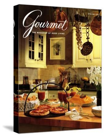 Gourmet Cover - April 1992-Romulo Yanes-Stretched Canvas Print