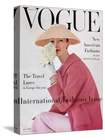 Vogue Cover - March 1956-Karen Radkai-Stretched Canvas Print