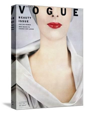 Vogue Cover - October 1952-Erwin Blumenfeld-Stretched Canvas Print