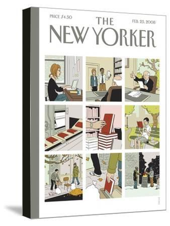 The New Yorker Cover - February 25, 2008-Adrian Tomine-Stretched Canvas Print