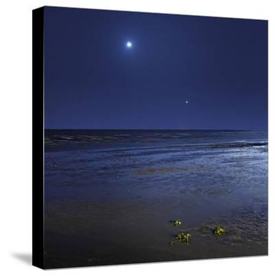Venus Shines Brightly Below the Crescent Moon from Coast of Buenos Aires, Argentina-Stocktrek Images-Stretched Canvas Print