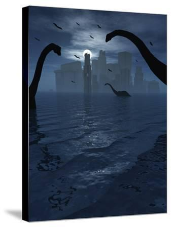 Dinosaurs Feed Near the Shores of the Famed Lost City of Atlantis-Stocktrek Images-Stretched Canvas Print
