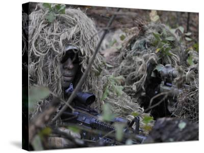 A Sniper Team Spotter and Shooter-Stocktrek Images-Stretched Canvas Print