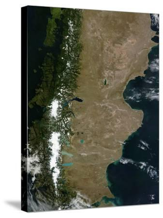 Satellite View of the Patagonia Region in South America-Stocktrek Images-Stretched Canvas Print