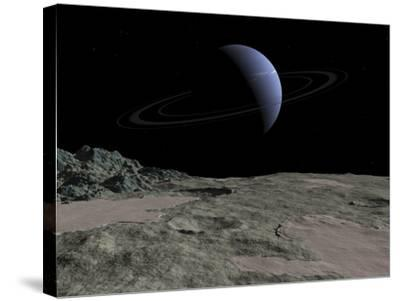 Illustration of the Gas Giant Neptune as Seen from the Surface of its Moon Triton-Stocktrek Images-Stretched Canvas Print