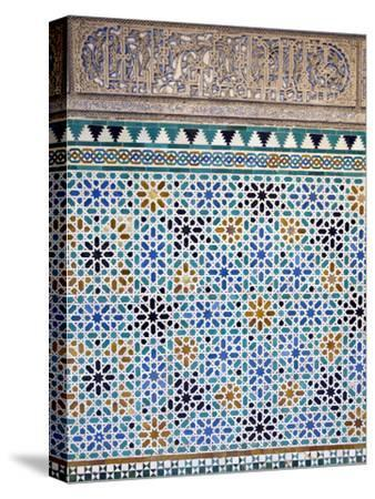 Detail of Tiles and Plaster Carving at Alcazar Royal Palaces, Seville-Krista Rossow-Stretched Canvas Print