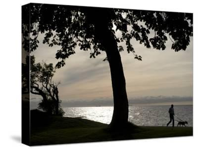 Dog Walker Along Visby Harbor-Keenpress-Stretched Canvas Print
