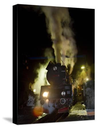 Polish State Railways Steam Locomotive after Bringing in Commuters-Kent Kobersteen-Stretched Canvas Print