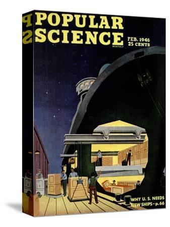 Front cover of Popular Science Magazine: February 1, 1946--Stretched Canvas Print