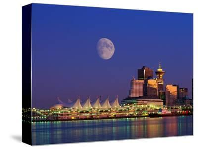 Moon Over Vancouver and Coal Harbor-Ron Watts-Stretched Canvas Print