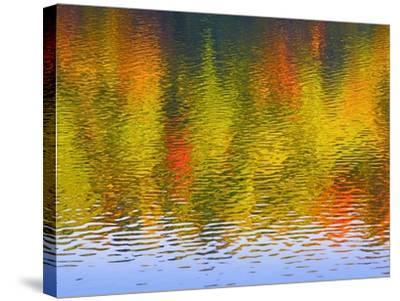 Fall Trees Reflected in Lake-Owaki-Stretched Canvas Print