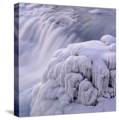 Frozen Gullfoss Waterfall--Stretched Canvas Print