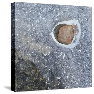 Rock in a Frozen River-Micha Pawlitzki-Stretched Canvas Print