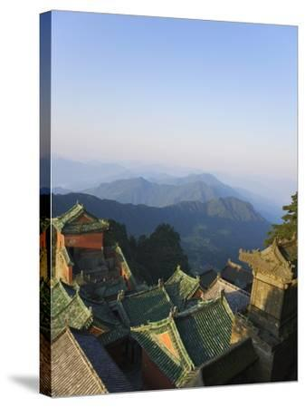 Taoist Temple in Mountain Landscape-Keren Su-Stretched Canvas Print