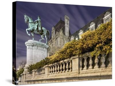 Equestrian Statue Outside Hotel de Ville-Peet Simard-Stretched Canvas Print