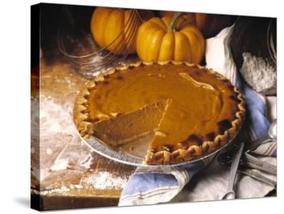 Pumpkin Pie with Slice Removed-Envision-Stretched Canvas Print