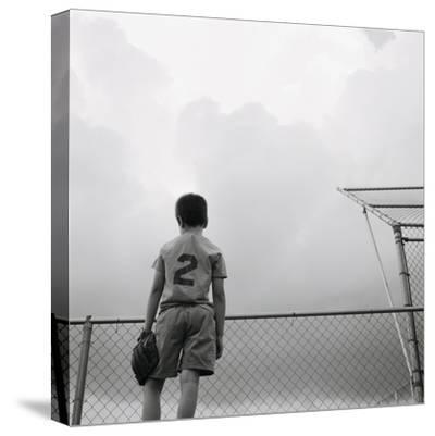 Boy in baseball uniform-Steve Cicero-Stretched Canvas Print