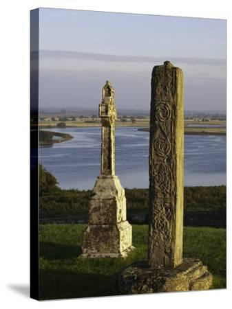 Gravestones at Clonmacnoise monastery-Doug Pearson-Stretched Canvas Print