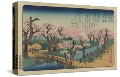 Evening Glow at Koganei Bridge-Ando Hiroshige-Stretched Canvas Print