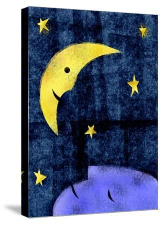 Crescent moon and sleeping man-Harry Briggs-Stretched Canvas Print