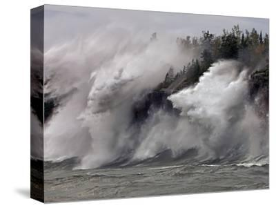 Fierce Lake Superior waves pound Minnesota's north shore-Layne Kennedy-Stretched Canvas Print