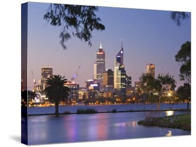 Swan River and James Mitchell Park at dusk-Jonathan Hicks-Stretched Canvas Print