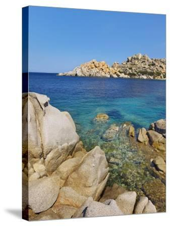 Rocky coastline at Capo Testo-Frank Krahmer-Stretched Canvas Print