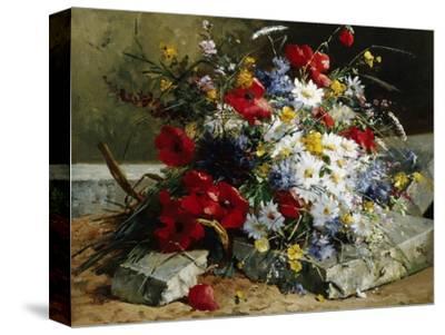 Daisies, Cornflowers and Poppies-Eugene Henri Cauchois-Stretched Canvas Print
