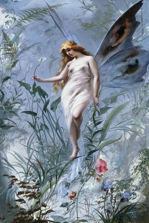 The Lily Fairy-Luis Ricardo Falero-Stretched Canvas Print