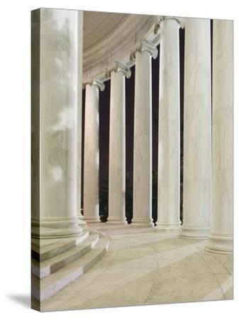 Columns Inside the Jefferson Memorial-William Manning-Stretched Canvas Print