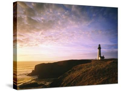 Sun Rising over Yaquina Head Lighthouse-Craig Tuttle-Stretched Canvas Print