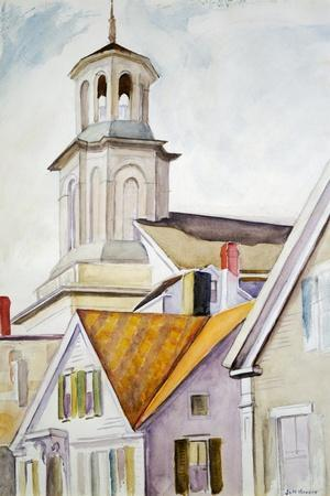 Church Steeple and Rooftops-Edward Hopper-Stretched Canvas Print