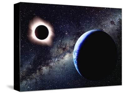 Earth and Total Eclipse Seen from Space-Roger Ressmeyer-Stretched Canvas Print
