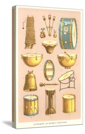 Variety of Percussion Instruments--Stretched Canvas Print
