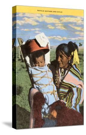 Navajo Mother with Papoose--Stretched Canvas Print