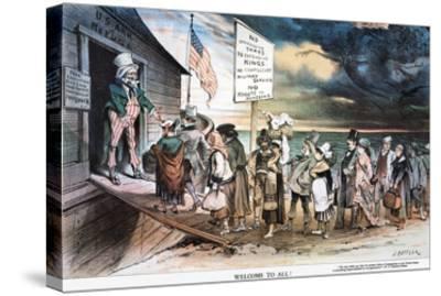 Pro-Immigration Cartoon-Joseph Keppler-Stretched Canvas Print