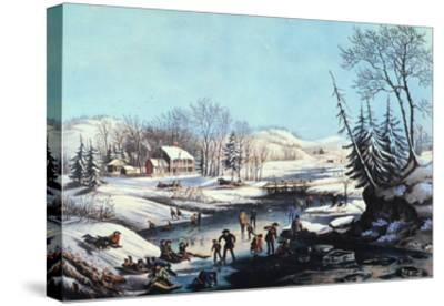 Winter Scene: Morning 1854-Currier & Ives-Stretched Canvas Print