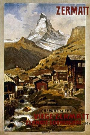 Swiss Travel Poster, 1898--Stretched Canvas Print