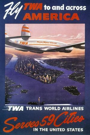 Trans-World Airlines 1950S--Stretched Canvas Print