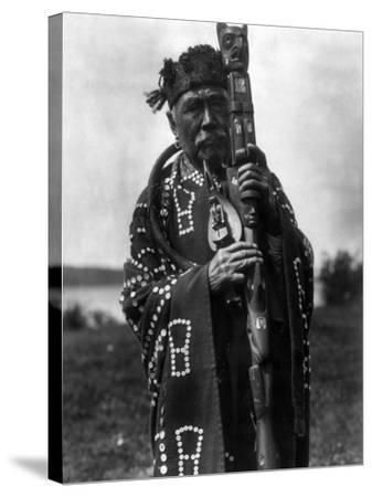 Kwakiutl Chief, C1914-Edward S^ Curtis-Stretched Canvas Print