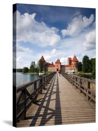 Island Castle on Lake Galve, Trakai Historical National Park, Trakai, Lithuania-Walter Bibikow-Stretched Canvas Print