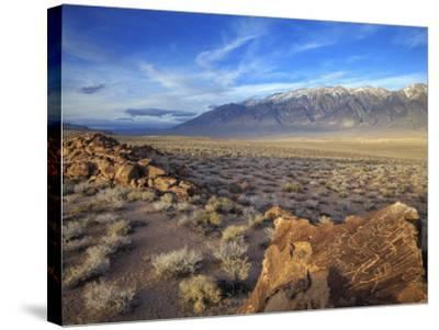 Great Basin Curvilinear Abstract-Style Petroglyphs, Bishop, California, Usa-Dennis Flaherty-Stretched Canvas Print