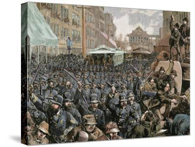 Police Officers Dispersing the Strike of Employees of Streetcar in New York, Usa, March 4, 1886-Prisma Archivo-Stretched Canvas Print