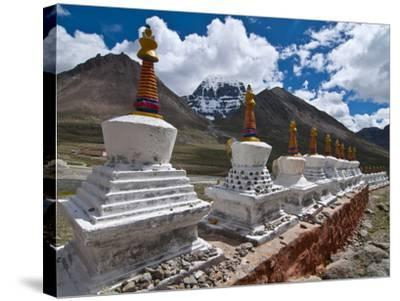 Chortens, Prayer Stupas Below the Holy Mountain Mount Kailash in Western Tibet, China, Asia-Michael Runkel-Stretched Canvas Print
