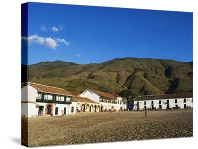 Plaza Mayor, Largest Public Square in Colombia, Colonial Town of Villa De Leyva, Colombia-Christian Kober-Stretched Canvas Print