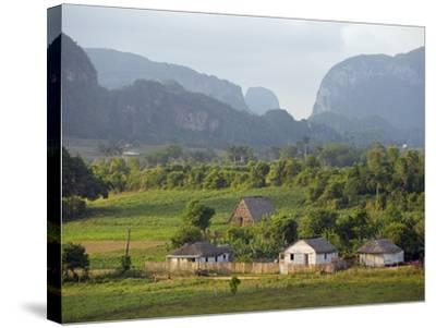 Farm Houses and Mountains, Vinales Valley, Cuba, West Indies, Caribbean, Central America-Christian Kober-Stretched Canvas Print
