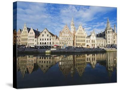 Reflection of Waterfront Town Houses, Ghent, Flanders, Belgium, Europe-Christian Kober-Stretched Canvas Print
